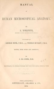 Cover of: Manual of human microscopical anatomy