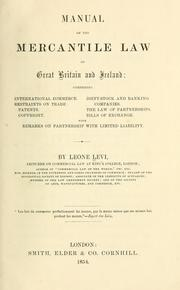 Cover of: Manual of the mercantile law of Great Britain and Ireland