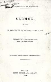 Cover of: Massachusetts in mourning: A sermon, preached in Worcester, on Sunday, June 4, 1854.