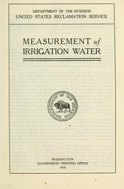 Cover of: Measurement of irrigation water. |