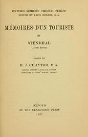 Cover of: Memoires d'un touriste