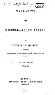 Cover of: De Quincey's Writings