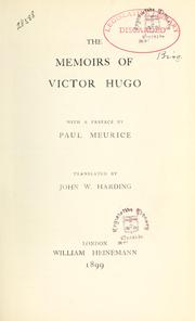 Cover of: The Memoirs of Victor Hugo