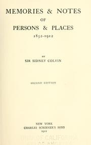 Cover of: Memories & notes of persons & places, 1852-1912