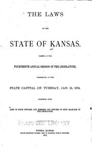 Laws, etc. (Session laws : 1861- ) by Kansas