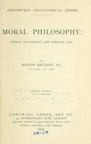 Cover of: Moral philosophy: Ethics deontology and natural law