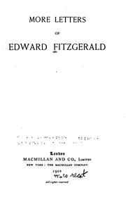 Cover of: More Letters of Edward FitzGerald