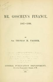 Cover of: Mr. Goschen's finance