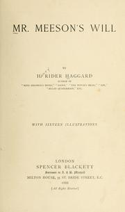 Cover of: Mr. Meeson's will | H. Rider Haggard