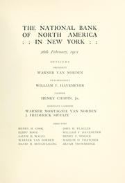 Cover of: National Bank of North America in New York | National Bank of North America in New York.