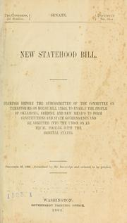 Cover of: New Statehood Bill by United States. Congress. Senate. Committee on Territories