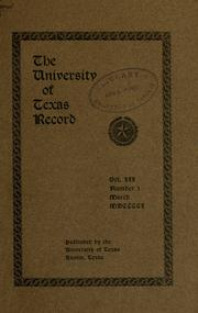 Cover of: University of Texas record. | Texas University of