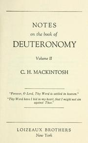 Notes on the book of Deuteronomy by Mackintosh, Charles Henry