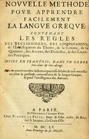 Cover of: Nouvelle methode pour apprendre facilement la langue greque | Claude Lancelot