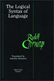 The logical syntax of language by Rudolf Carnap