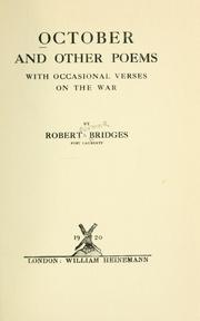 Cover of: October and other poems: with occasional verses on the war.