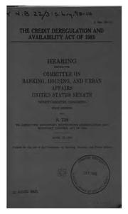 Cover of: The Credit Deregulation and Availability Act of 1983: Hearing Before the ...