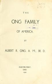 Cover of: The Ong family of America
