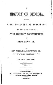 Cover of: A History of Georgia: From Its First Discovery by Europeans to the Adoption of the Present ..