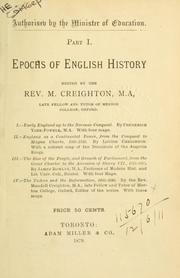 Cover of: Epochs of English history