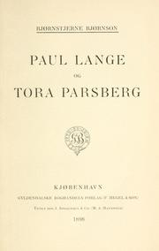 Cover of: Paul Lange and Tora Parsberg