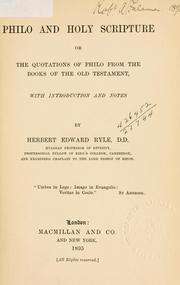 Cover of: Philo and Holy Scripture by with introduction and notes by Herbert Edward Ryle.