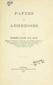 Papers and addresses by Robert Craik