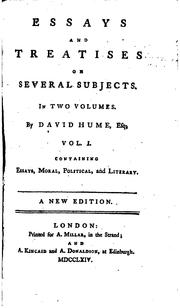 Cover of: Essays and Treatises on Several Subjects: In Two Volumes