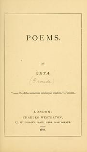 Cover of: Poems by Zeta [pseud.]