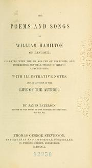 Cover of: The poems and songs of William Hamilton of Bangour