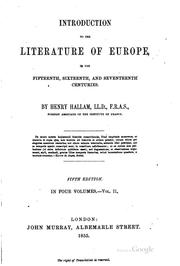Cover of: Introduction to the Literature of Europe in the Fifteenth, Sixteenth and ..
