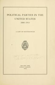 Cover of: Political parties in the United States, 1800-1914 | New York Public Library.