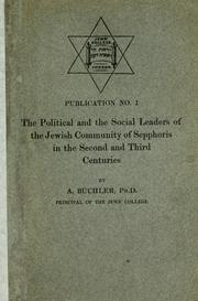 Cover of: The political and the social leaders of the Jewish community of Sepphoris in the second and third centuries