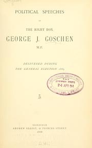 Cover of: Political speeches, delivered during the general election, 1885
