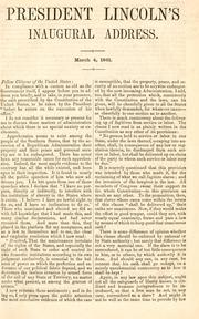 Cover of: President Lincoln's inaugural address: March 4, 1861.