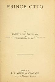 Cover of: Prince Otto. | Robert Louis Stevenson