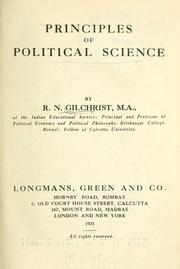 Cover of: Principles of political science
