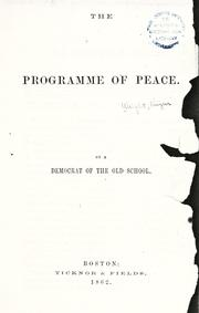 Cover of: The programme of peace