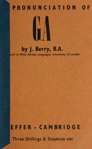 Cover of: pronunciation of Ga. | Jack Berry