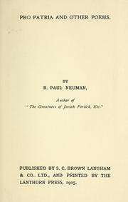Cover of: Pro patria, and other poems | B. Paul Neuman