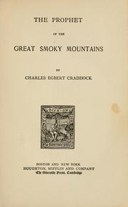 Cover of: The prophet of the Great Smoky Mountains