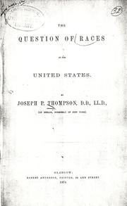 Cover of: The question of races in the United States