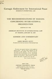 Cover of: The recommendations of Habana concerning international organization