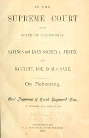 Cover of: Savings and Loan Society v. Austin, and Bartlett, Doe, et al. v. same
