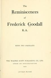 Cover of: The reminiscences of Frederick Goodall, R. A. With two portraits