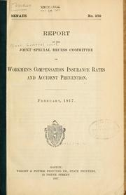 Cover of: Report of the Joint Special Recess Committee on Workmen