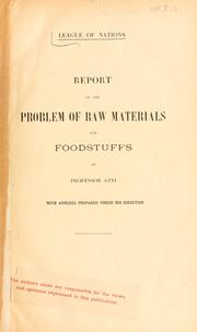 Cover of: Report on the problem of raw materials and foodstuffs