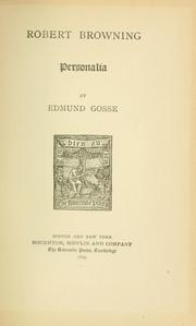 Cover of: Robert Browning; personalia