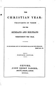 Cover of: The Christian Year: Thoughts in Verse for the Sundays and Holydays ..
