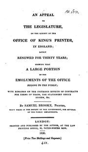 Cover of: An appeal to the legislature, on the subject of the office of king's printer in England
